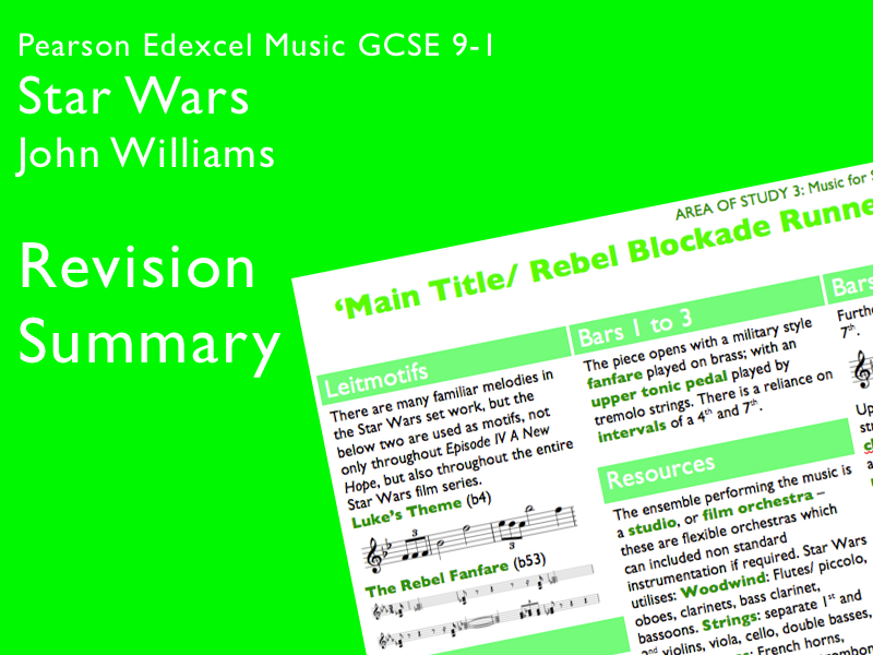 Star Wars - John Williams | Edexcel Pearson GCSE Music 9-1 | Knowledge Organiser / Revision