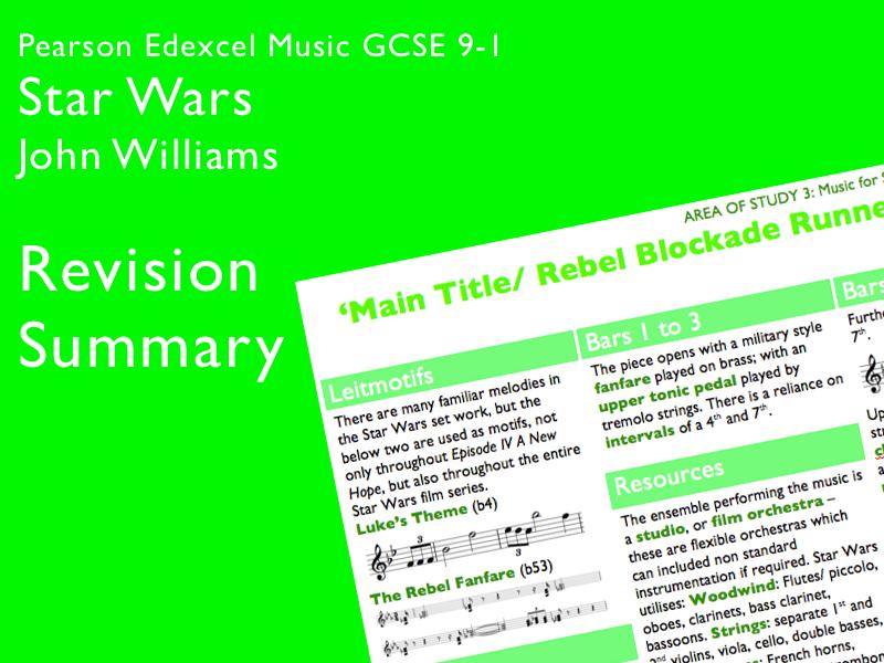 Star Wars - John Williams | Edexcel Pearson GCSE Music 9-1 | Revision Summary