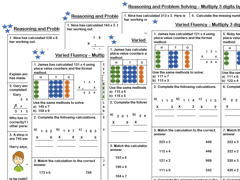 White Rose Maths - Year 4- Spring Block 1 - Multiply 3 digits by 1 digit (Varied Fluency and Problem Solving bundle)