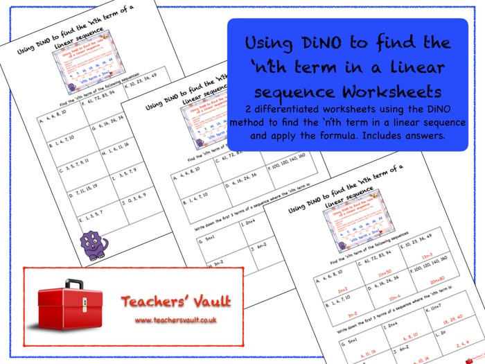 Using DiNO to find the 'n'th term in a linear sequence Worksheets