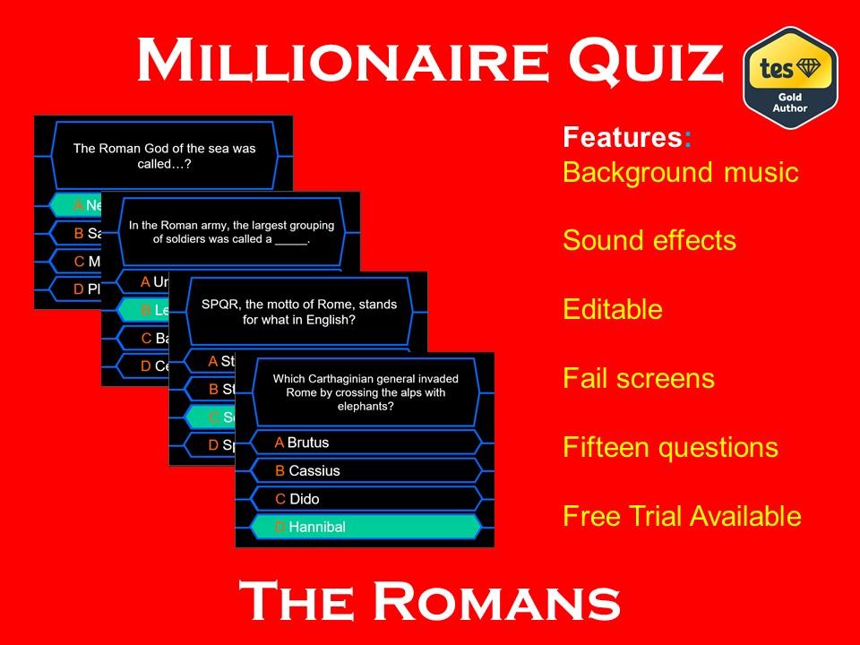 Millionaire Quiz! (Ancient Rome Edition)