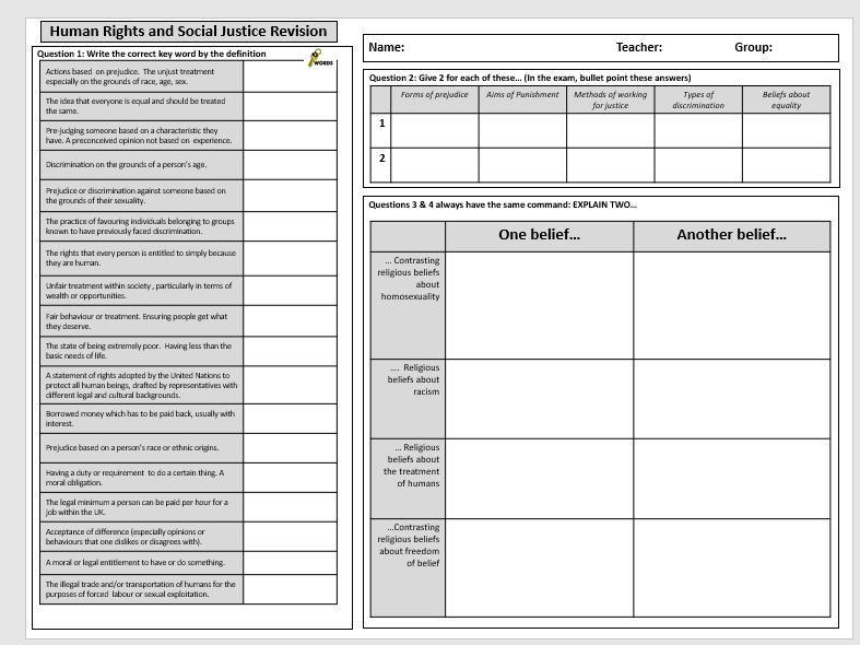 AQA Religious Studies GCSE Exam Revision Sheets: Thematic Studies Paper 2