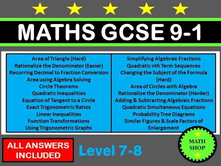 Maths GCSE 9-1 Higher Non-Calculator Questions
