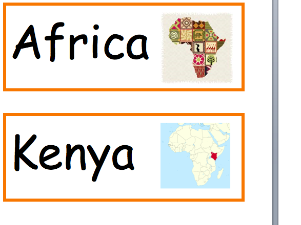 22 Colourful Kenya Africa key words with picture cards