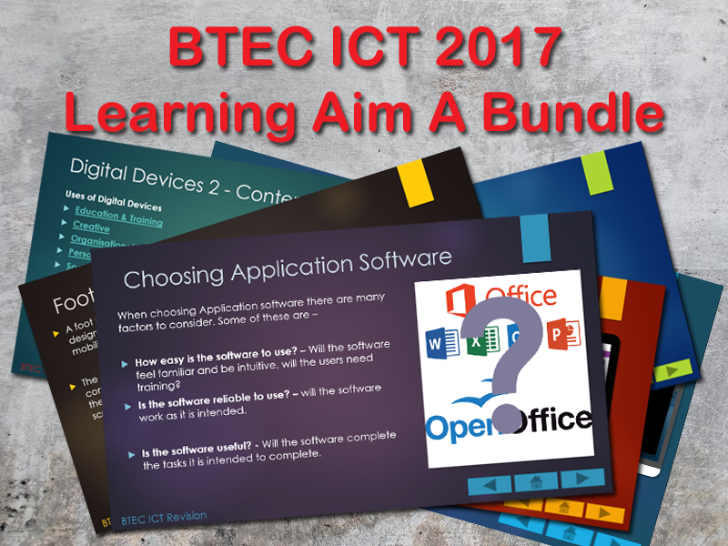 BTEC ICT 2017 Learning Aim A - Presentations Bundle