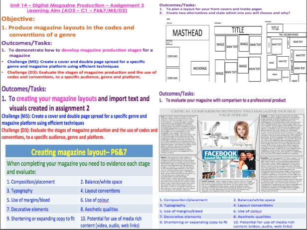 BTEC Level 3 Creative Digital Media Production - Unit 14 - Digital Magazine Production (C1/C2)