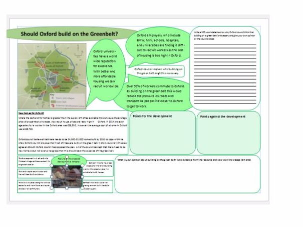 Should we build on the green belt? Eduqas Theme 2 and AQA Urban environments
