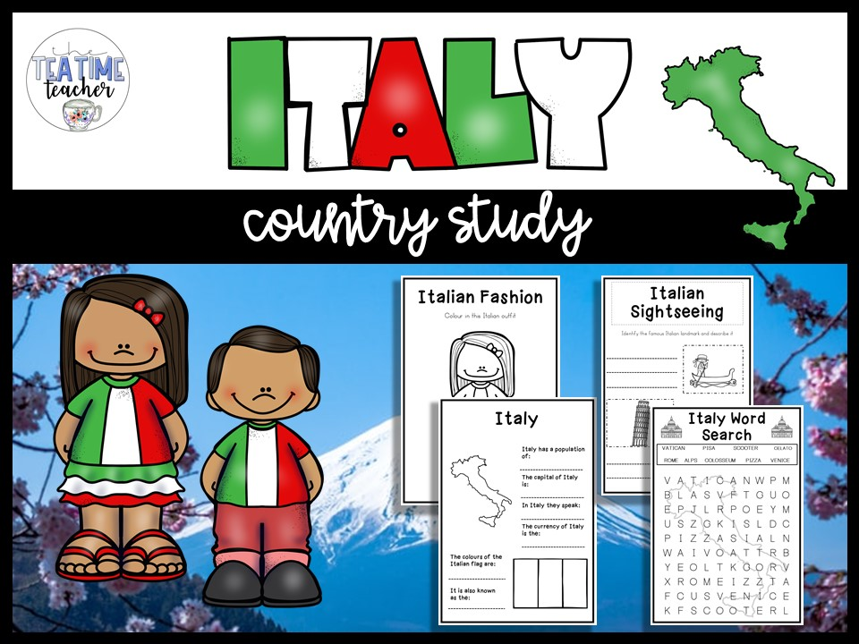 Italy Country Study Lesson PowerPoint and Worksheet Booklet