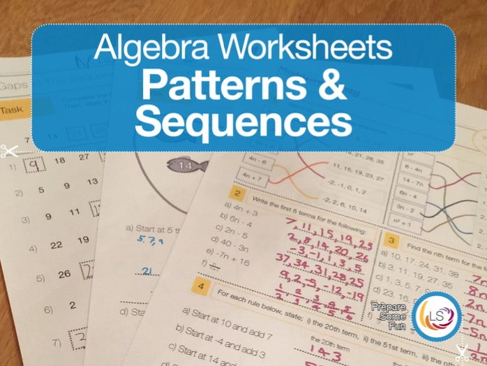 algebra patterns and sequences worksheets by littlestreams teaching resources. Black Bedroom Furniture Sets. Home Design Ideas