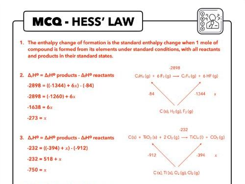 MCQ Hess' Law, OCR Chemistry, A Level