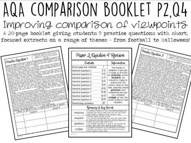 AQA Revision Booklet: Paper 2, Question 4 (NINE Practice Questions)