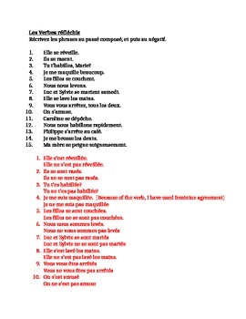 Verbes réfléchis (French Reflexive verbs) Passé composé Worksheet 5