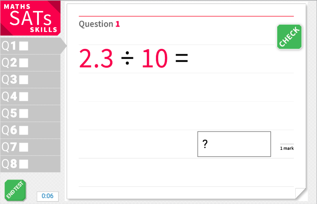 Divide by 10, 100 and 1,000 with decimal places - KS2 Maths Sats Arithmetic - Interactive Exercises