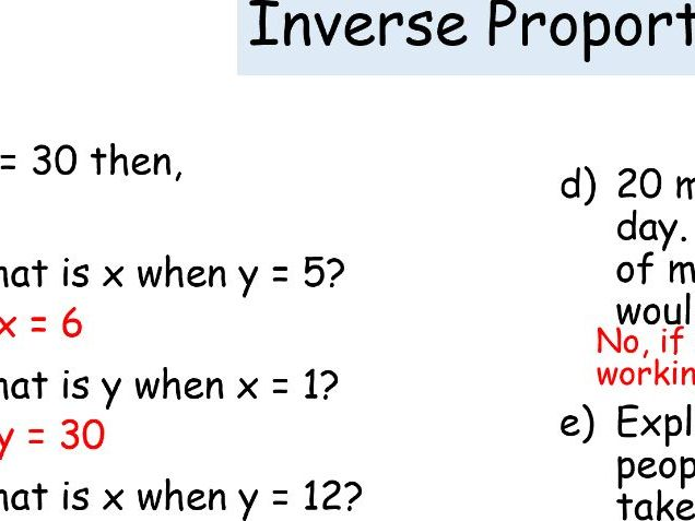 Inverse Proportion Lesson