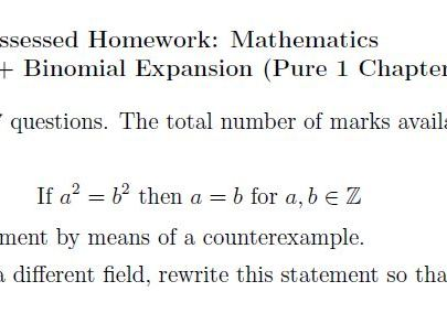 Edexcel Pure 1 Chapter 7&8 Homework - Fact Thm and Bin Exp
