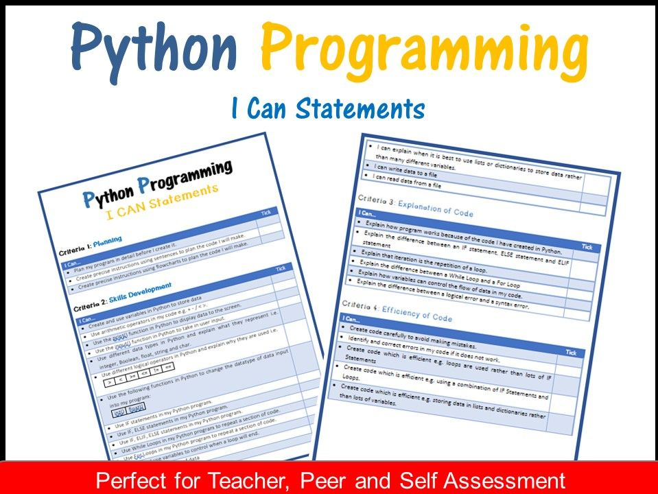 Python Programming - I CAN Statements