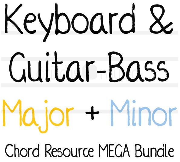 Keyboard & Guitar-Bass Major + Minor Chord Key Cards MEGA Bundle