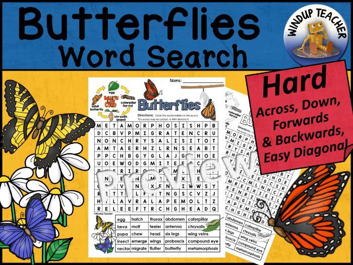 Butterflies Word Search | Hard