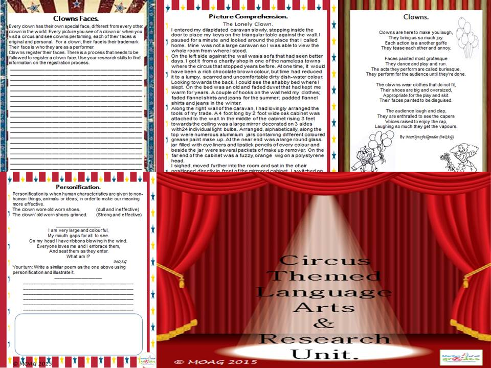 Circus Themed Language Arts & Research Unit