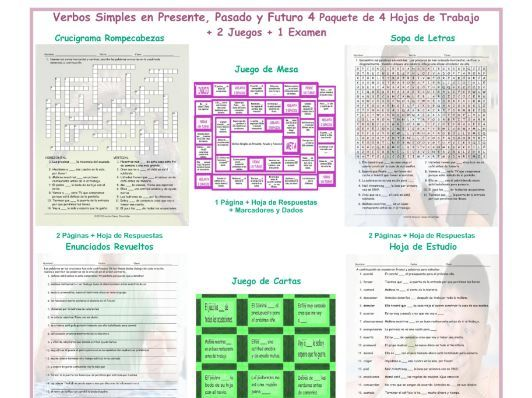 Present , Past, and Future Simple 4 Spanish 4 Worksheet-2 Game-1 Exam Bundle