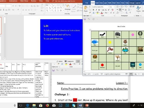 Maths Year 1 Position and Direction unit of work with Powerpoint