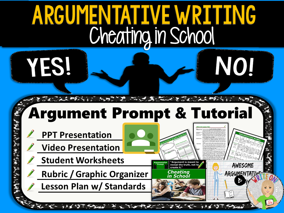 Argumentative Writing Lesson / Prompt – Digital Resource – Cheating in School – Middle School