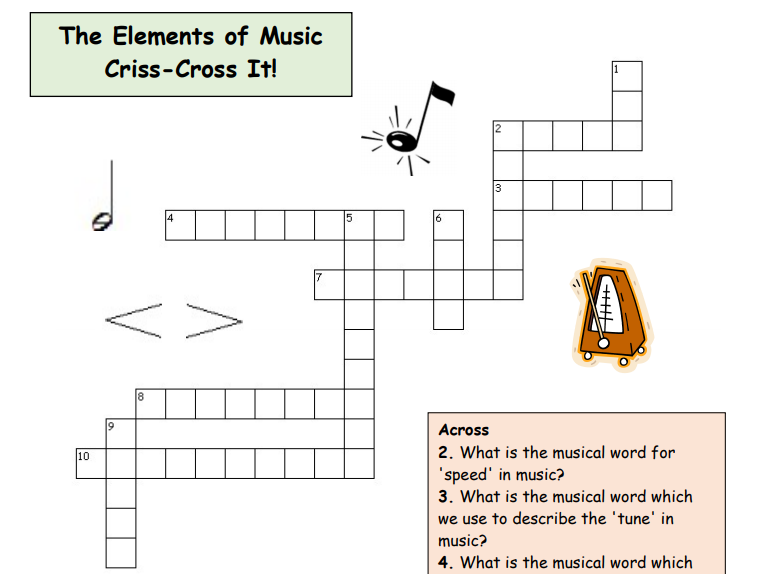 Elements of Music - Activity Pack (6 varied tasks)