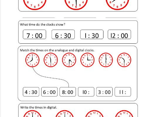 Time Worksheet - O'clock and Half Past - Analogue and Digital
