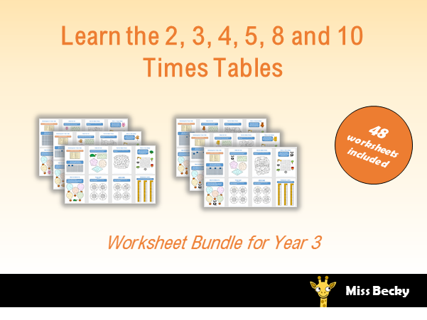 2, 3, 4, 5, 8 and 10 Times Table Worksheets Year 3 Bundle