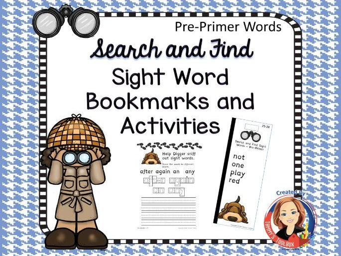 Sight Word Bookmarks and Activities, Pre-Primer Words