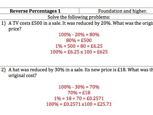 GCSE Maths - Reverse Percentages - 20 Questions and worked Answers.