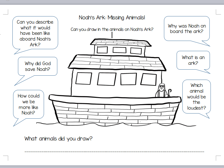 RE Noah's Ark Worksheet KS1 and EYFS with Question Prompts (Hand Drawn)
