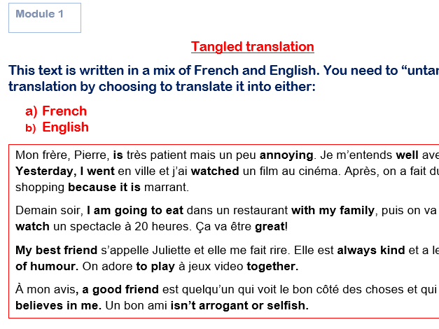 GCSE French Tangled Translations ALL Modules With Answers
