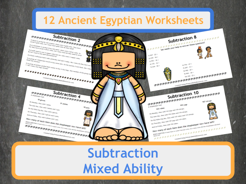 Ancient Egyptian Themed Subtraction Worksheets