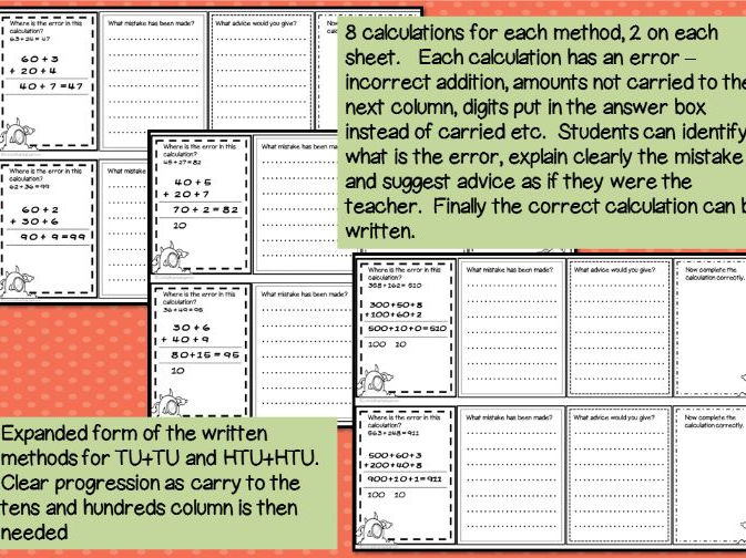 Error Analysis / Spot the Mistake Task Cards for Written Addition Methods Year 3 4