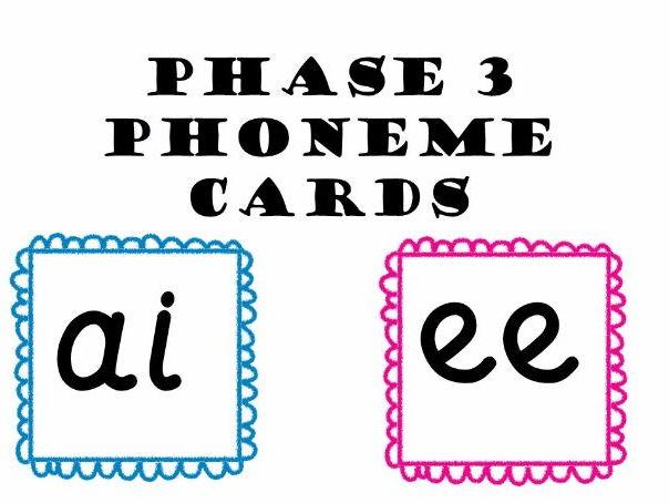 Phase 3 Phoneme Flash Cards