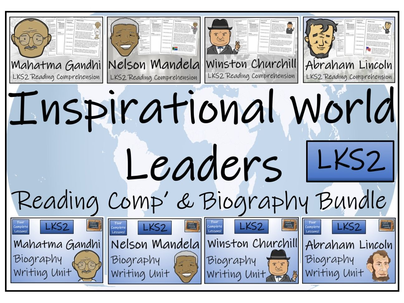 LKS2 History - Inspirational World Leaders Biography and Reading Comprehension Bundle