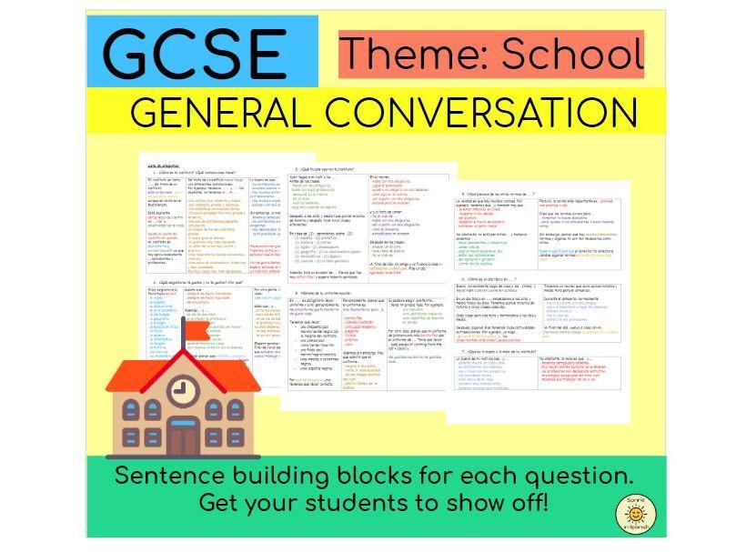 School Sentence Bulding Blocks Spanish GCSE - El instituto