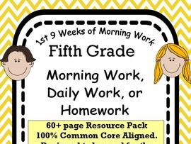 5th grade Daily Morning Work or Homework Spiral Review-  ELA and Math Combined Common Core aligned
