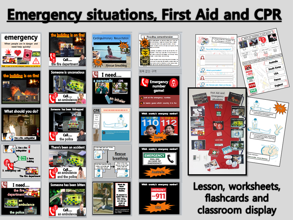 Emergency situations, CPR and First Aid.  WHOLE LESSON, 3xworksheets and wall display. KS2 EFL TEFL