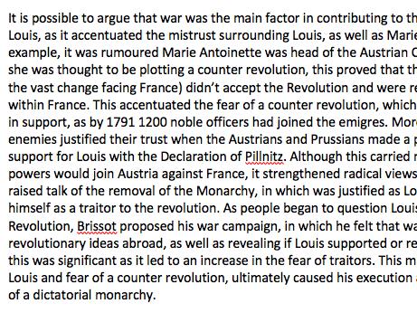 A Grade OCR A-Level History French Revolution Essay