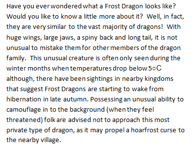 Information text/Non Chronological report for Year 5/6 new curriculum - The Arctic Frost Dragon