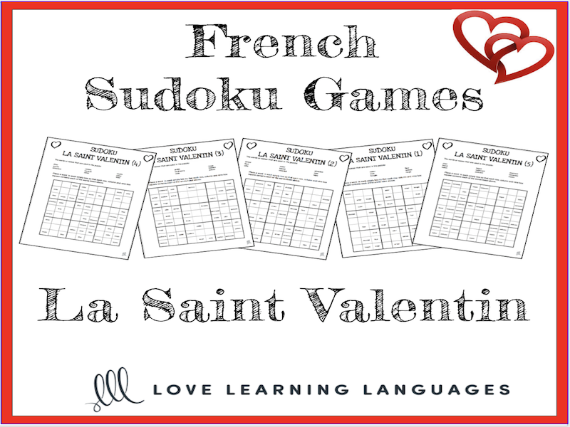 French Valentine's Day Sudoku Games - La Saint Valentin