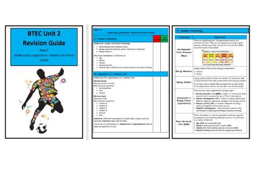 BTEC Level 3- Unit 2 - Revision Notes/Guide  - Part C Understand Programme-Related Nutritional Needs
