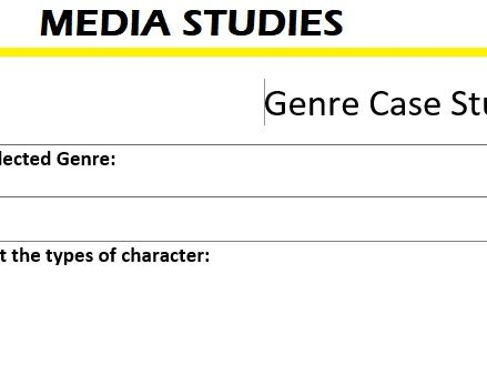 Genre Case Study Sheet (to fill in)
