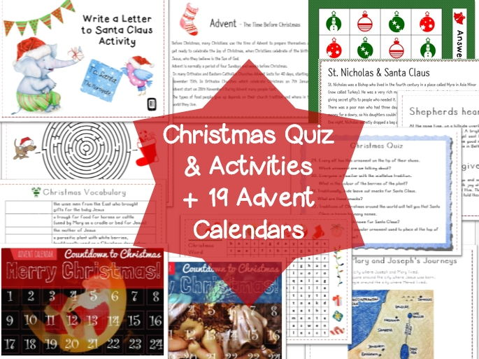 Christmas Quiz and Activity worksheet + 19 Advent Calendars