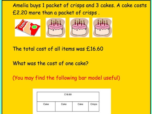 KS2 Word problems with Bar Modelling Visual - Revision