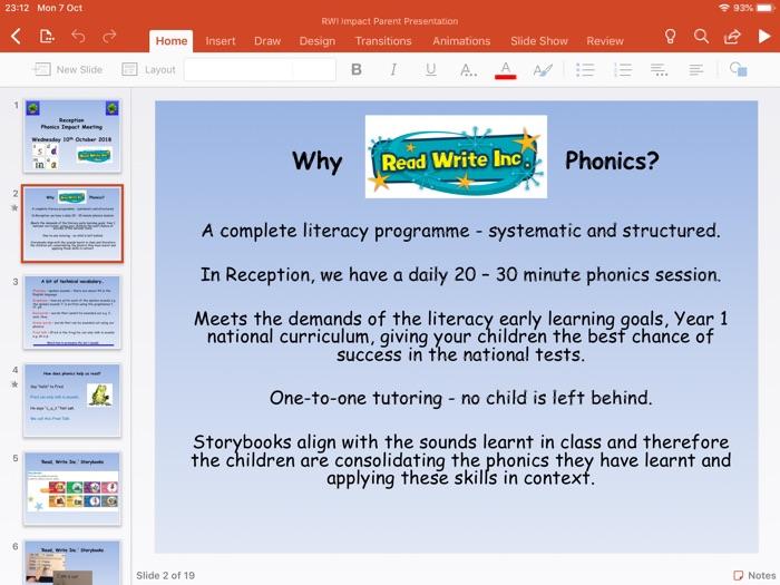 Read Write Inc. Parent Impact Presentation