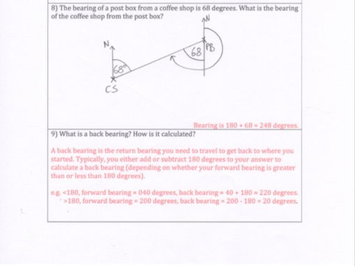 GCSE Maths - Bearings Worksheet - 10 Questions with answers.