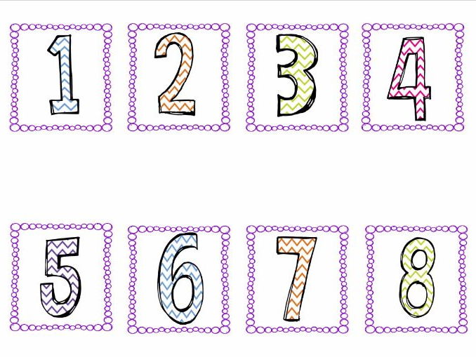 Number cards 1- 20